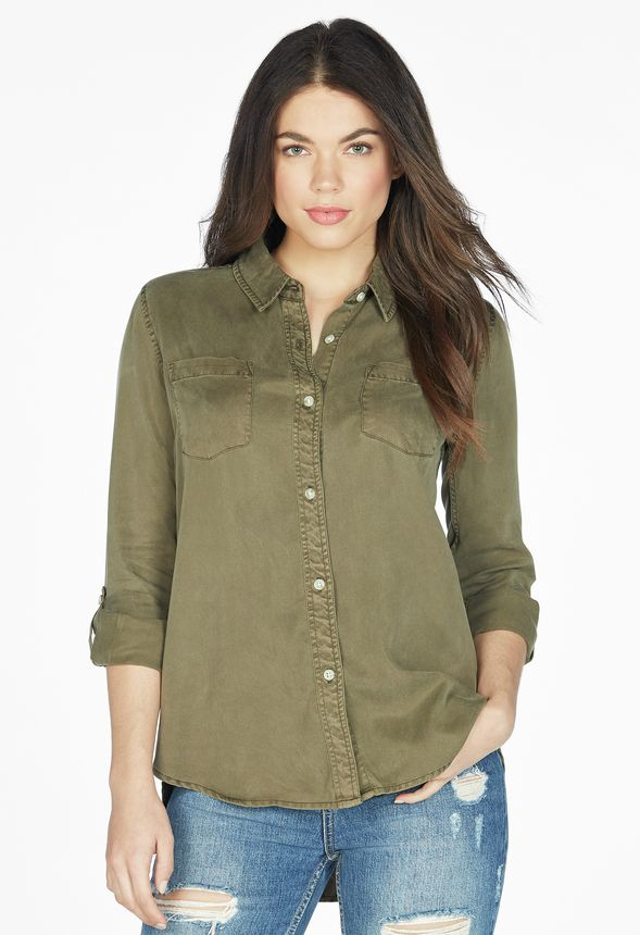 7681112afed Utility Button Down Shirt in Olive - Get great deals at JustFab