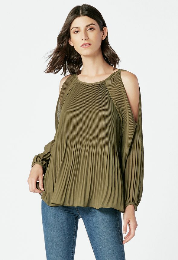 54f6f9952f558 Pleated Cold Shoulder Top in Olive - Get great deals at JustFab