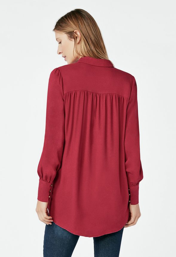 6ec318466f4 Drapey Tunic Shirt in Red Velvet - Get great deals at JustFab
