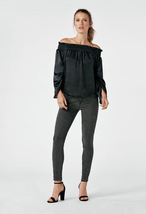 5fc2c10d77745 Smocked Off Shoulder Top in Black - Get great deals at JustFab