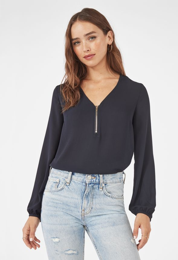 67c8b8e3ae2c02 Zip Front Blouse in Black - Get great deals at JustFab