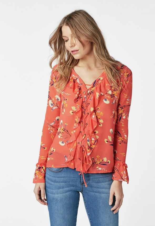 ea0b1db3fc390c Ruffle Front Lace Blouse in passion fruit multi - Get great deals at JustFab