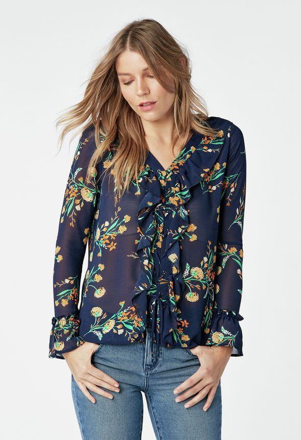 108841e72edcad Ruffle Front Lace Blouse in INDIGO MULTI - Get great deals at JustFab