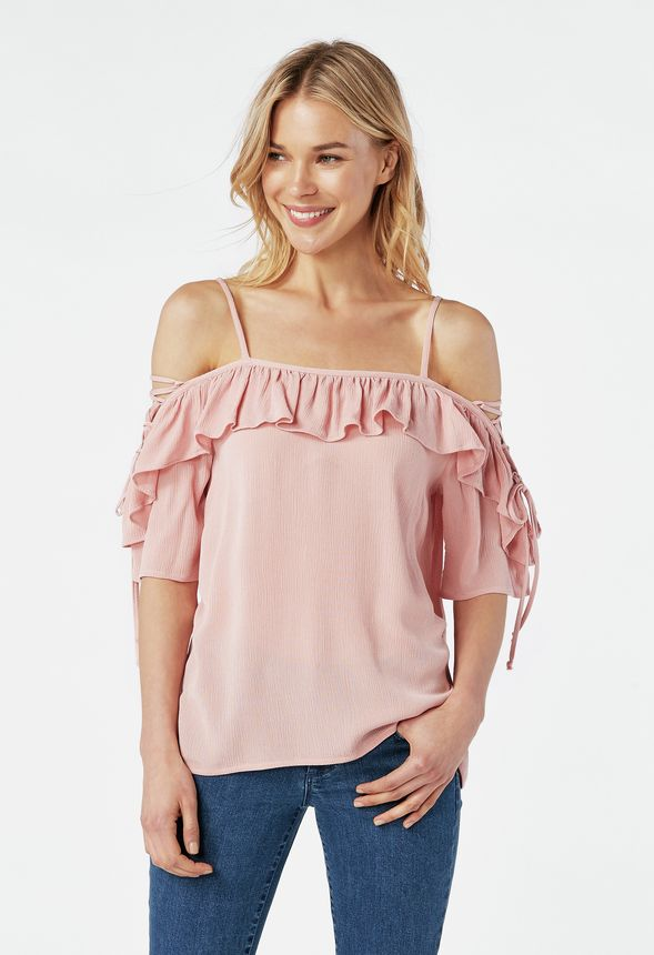 933d3f7e45e Cold Shoulder Ruffle Top in mellow rose - Get great deals at JustFab