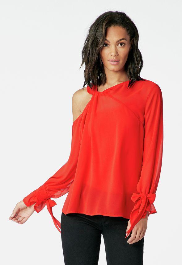dd510ba72f6fe One Cold Shoulder Top in flame scarlet - Get great deals at JustFab