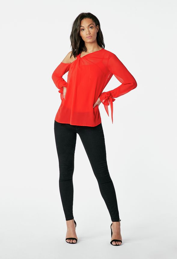 2a799eee655 One Cold Shoulder Top in Flame Scarlet - Get great deals at JustFab