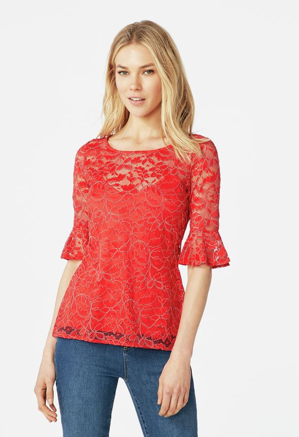 c99e5d7bc4b Frill Sleeve Lace Top in Flame Scarlet - Get great deals at JustFab