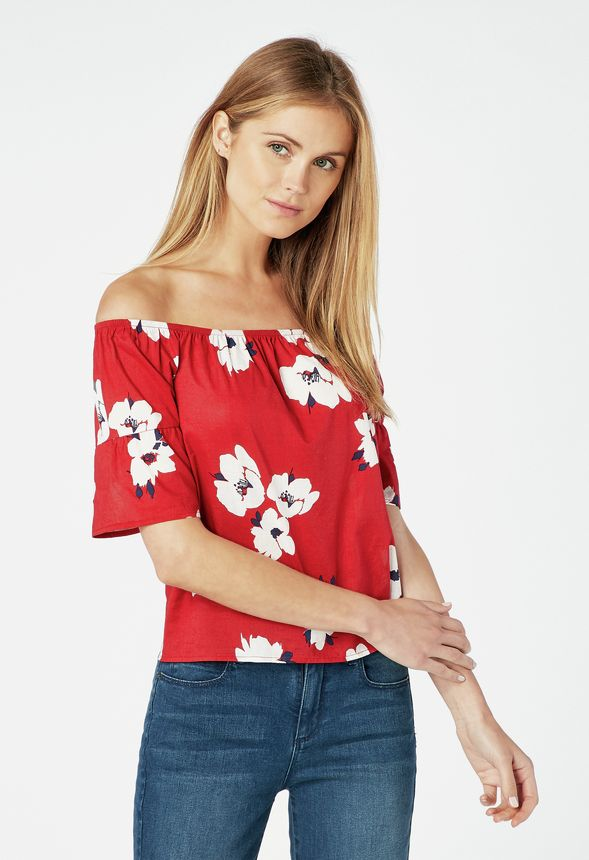 22ab4209f1e808 Off Shoulder Cotton Poplin Top in red multi - Get great deals at JustFab