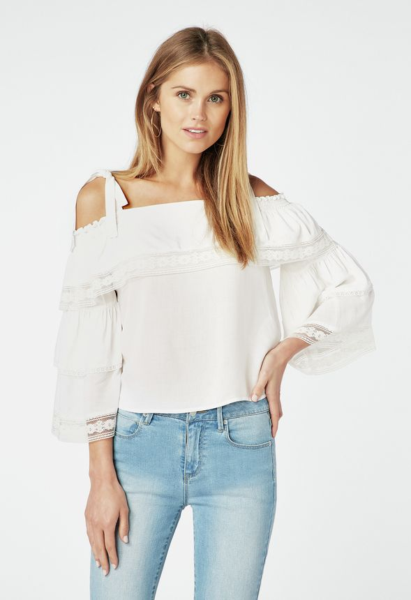 f64447daaec Lace Trim Cold Shoulder Top in White - Get great deals at JustFab