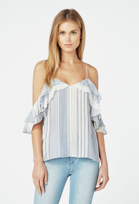 875054ba9a5732 Stripe Cold Shoulder Top in white  blue - Get great deals at JustFab