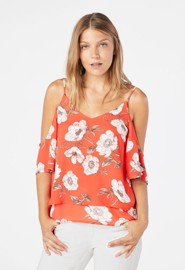 16757a5882d6b9 Floral Cold Shoulder Top in CORAL MULTI - Get great deals at JustFab