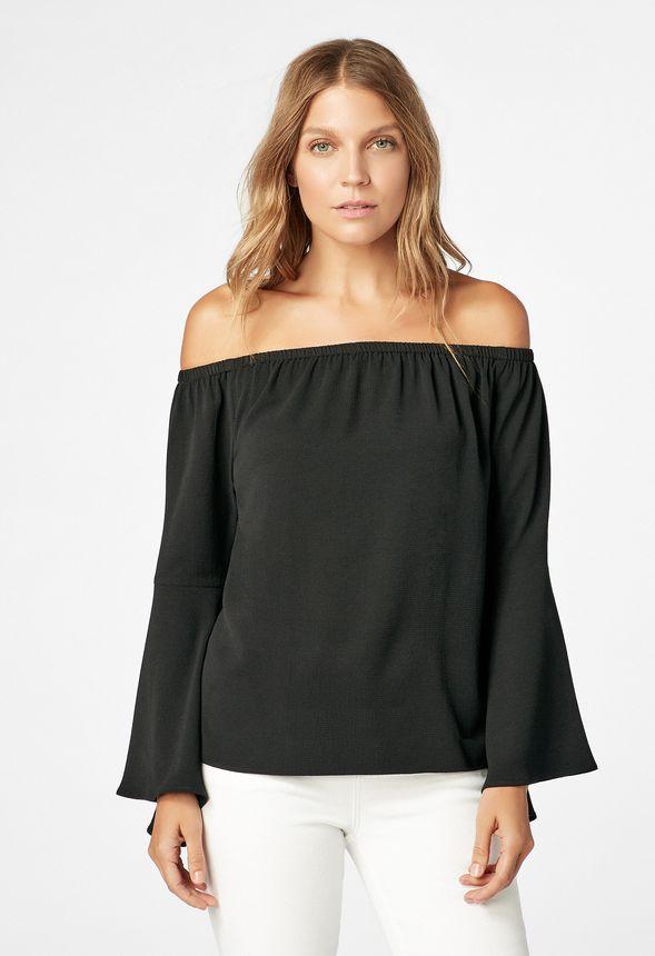 f0210ee597269 Off Shoulder Flare Sleeve Top in Black - Get great deals at JustFab