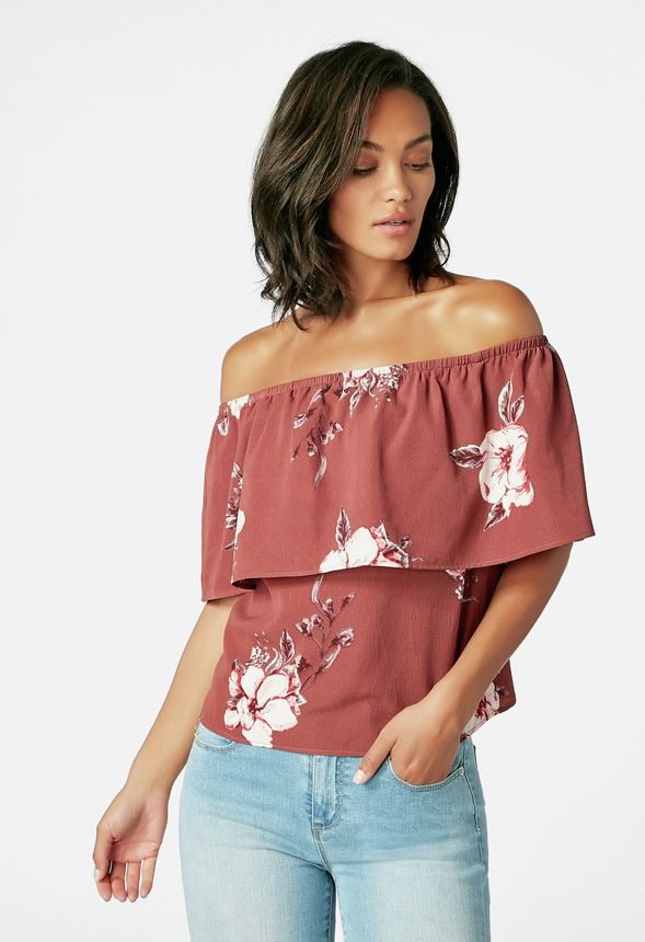 bd7d79c3f71eb1 Floral Off Shoulder Top in MAUVE MULTI - Get great deals at JustFab
