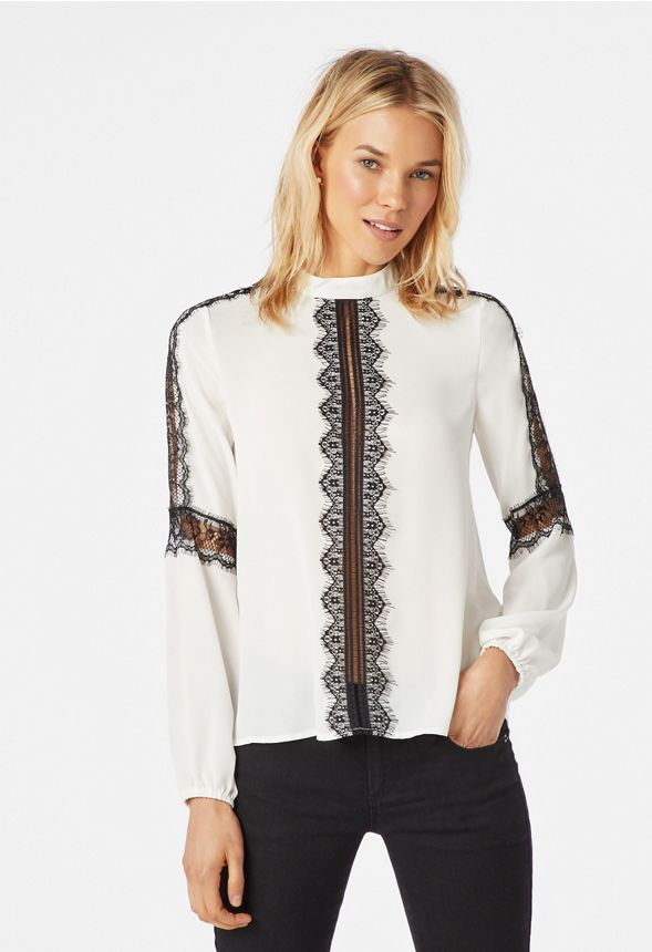 5790259cedd3f6 Lace Trim Long Sleeve Blouse in WHITE/ BLACK - Get great deals at JustFab