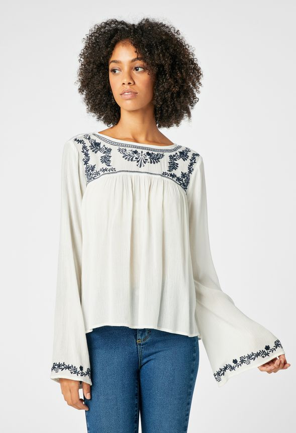 4ae63c909a2db0 Embroidered Peasant Blouse in White - Get great deals at JustFab