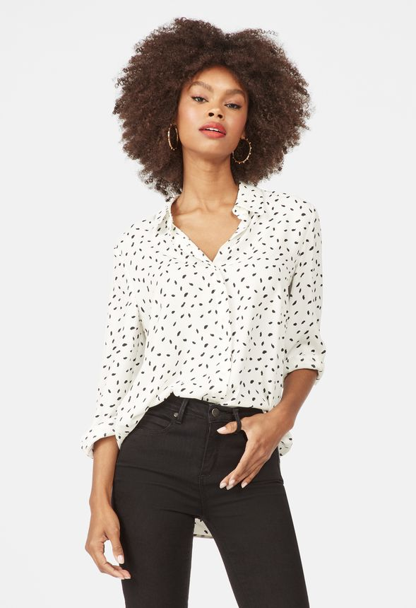 4e7281fe1ad344 Relaxed Printed Button Down Shirt in White - Get great deals at JustFab