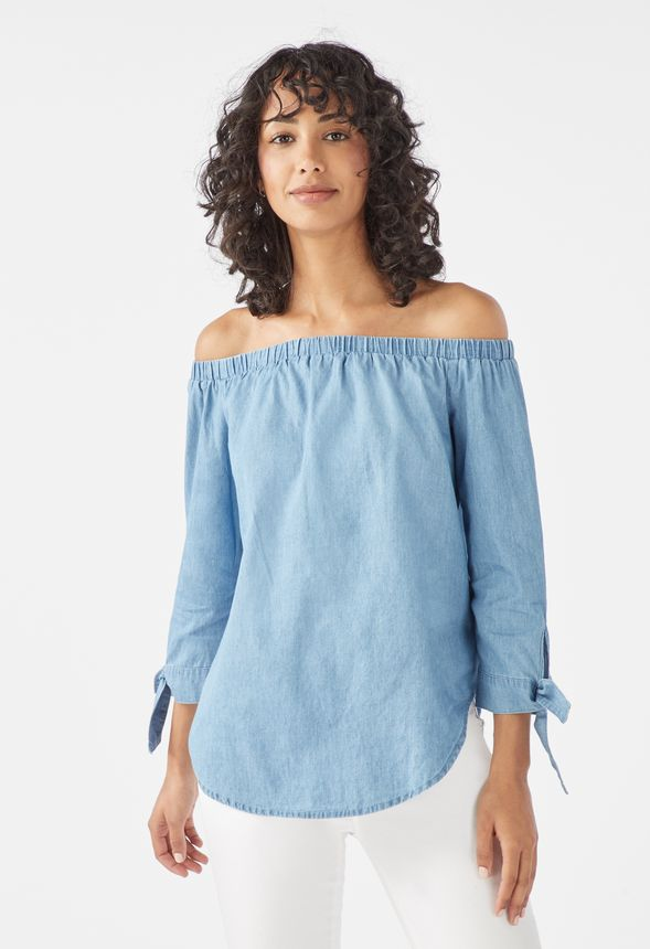 d634b648f13 Off Shoulder Chambray Top in CHAMBRAY - Get great deals at JustFab