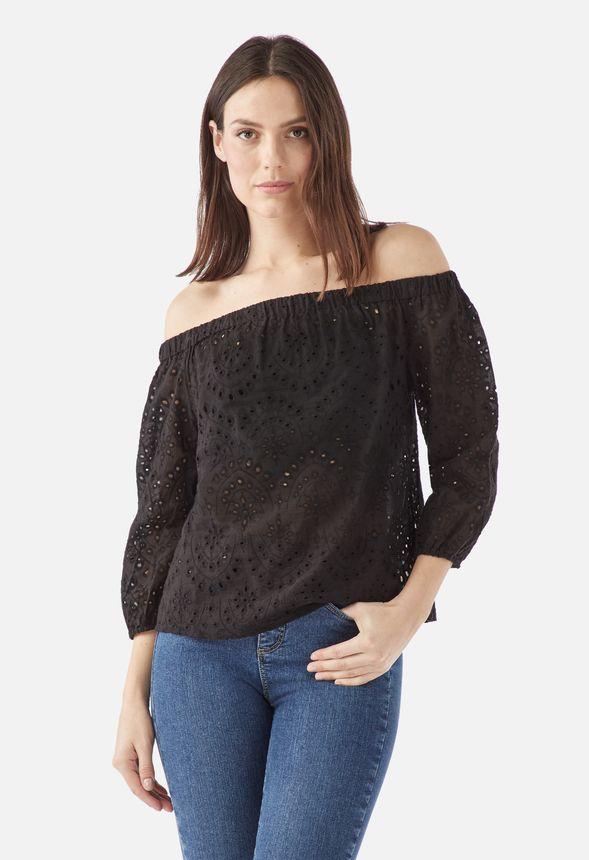 6432c2a9c61 Off Shoulder Crochet Top in Black - Get great deals at JustFab