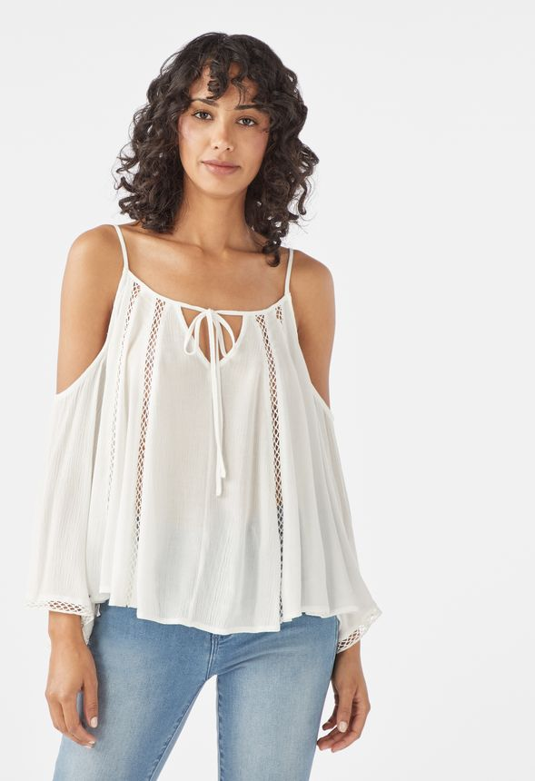 ba4b0dacd5ac51 Cold Shoulder Gauze Top in White - Get great deals at JustFab