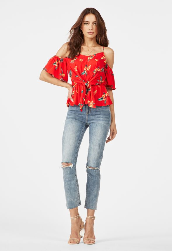 e9857cc6898 Cold Shoulder Top in Flame Scarlet Multi - Get great deals at JustFab